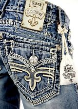 """$220 Mens Rock Revival Jeans """"Sean"""" Leather Inserts Straight Leg 28 X 30"""