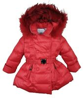 NEW AUTHENTIC ELSY RRP £279 AGE 7 YEARS RED FUR PUFFER DOWN JACKET COAT JK05