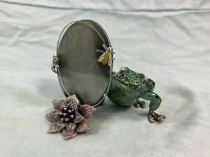 Jay Strongwater jeweled enamel frog picture frame