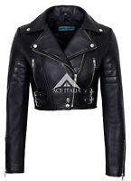 Ladies Brando Leather Jacket Black Fashion Biker Rock Style Real Lambskin 442