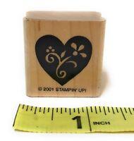 "Stampin Up Wood-Mounted Rubber Stamp 2001 Flower Design Inside Solid Heart 1.25"""