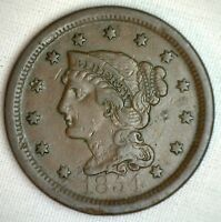 1854 Braided Hair Large Cent Copper Very Fine Genuine US Coin M11 VF