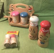 Lot Of Salty Peppy Vintage Wooden SHAKERS Spice Set Rack 3 Sets Salt Pepper MCM