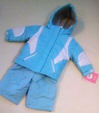 New 2 pc Snowsuit Jacket Pants Baby Girl Infant Size 12 M Insulated Coat Ski Bib