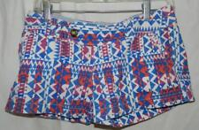 Ladies Juniors Red Camel Red/White/Blue Geometric Design Short Shorts Size 1