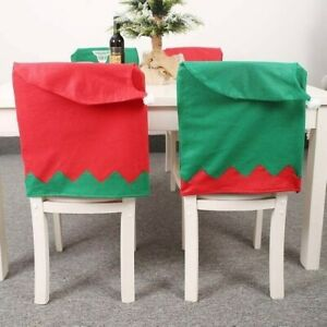 Christmas Nonwoven Elf Chaircase Set Stool Covering Hat Chair Back Cover
