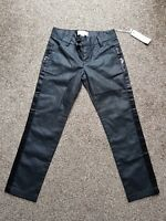 BNWT Girls Black, Skinny Fit Coated Trousers by Diesel. Size  Age 8 Years