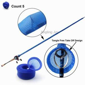 5 Pieces Blue Casting Fishing Rod Jacket Cover Sleeve Pole Glove Sock