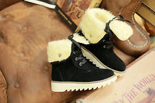 Chic Womens Winter Warm Faux Suede Block Heel Lace up Fur Trim Ankle Boots