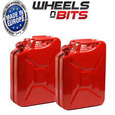 2 x NEW HIGH QUALITY METAL POWER COATED INSIDE AN OUT RED JERRY CAN 20L LITRE
