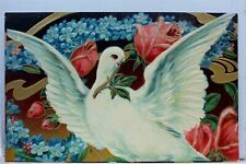 Greetings Dove Bird Flower Postcard Old Vintage Card View Standard Souvenir Post