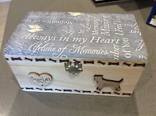 DOG PET IN LOVING MEMORY WOODEN KEEPSAKE MEMORY BOX ASHES PERSONALISED GIFT 20cm