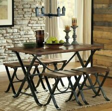 Rustic Dining Table Set 5 Piece Dinette 4 Stools Wood Metal Kitchen Industrial