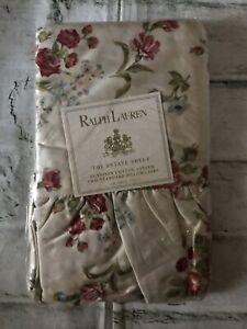 FAB! VTG Ralph Lauren Emily Anne Tan Floral Pair Ruffled STD Pillowcases Italy