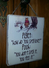 Winnie The Pooh Picture Quote Plaque , Sign. Solid Wood. Shabby chic gift. #P2