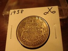 1938 - Canada Silver Half Dollar - Canadian 50 cent coin