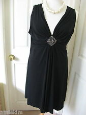 STUNNING BLACK BEADED DIAMANTE  COCKTAIL EVENING DRESS GOWN SIZE 18 EUR 46