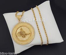 Osmanli Tugra Gold Münze Kette 24 Karat vergoldet Altin Kaplama Taki Kolye Dügün
