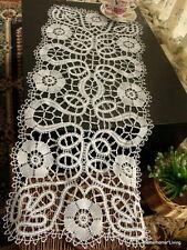 """FABLULOUS~Vtg Bobbin Lace Table Runner Dresser Scarf Cotton HANDMADE antique 33"""""""