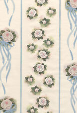 Shabby Roses White Pink Green Roses Blue Ribbon Chic Double Roll Wall Wallpaper