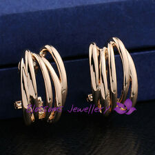 9K 9CT GOLD Filled SIMPLY PLAIN Huggie EARRINGS Womens Casual STYLISH ES328-1L