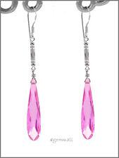 Earrings w/Cz Pink #65215 925 Sterling Silver Dangle Drop