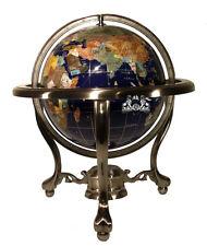 "14"" Blue Ocean Silver 3- leg table stand Gem MOP Gemstone World MAP globe"