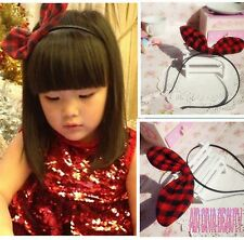 Kid Girl Children Red Check Bunny wire Rabbit  Ear Bow Party Hair Headband band