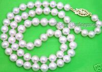 "SALE 7-8MM Round WHITE high quality Natural FreshWater PEARL 17"" NECKLACE-ne1015"