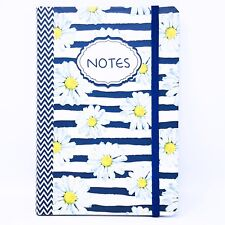 Journal Diary Notes Daisies Blue White 80 Blank Lined Pages Hardcover Notebook