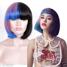 Melanie Martinez Style Fashion BOB Hair Pink Blue Black Mixed Color Cosplay Wig