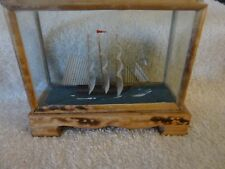 ''WOW'' SHIP IN A GLASS/WOOD DISPLAY CASE
