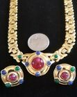 Vintage Trifari Egyptian Style Necklace and Pierced Earring Set