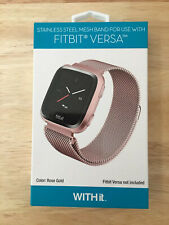 NEW in Box WITHit Fitbit Versa 3 Mesh Stainless Steel Metal Watch Band Rose Gold