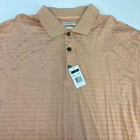 NWT Ease Polo Shirt Men's 2XL XXL Short Sleeve Peach 60x2Ply Mercerized Cotton