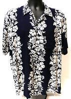 Handsome Navy White Pineapple Express Aloha Hawaii Hawaiian Shirt 100% Rayon M
