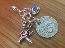 LUCKY SIXPENCE CHARM, garter, BRIDE, WEDDING, CHIMNEY SWEEP, luck, keepsake.