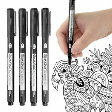 Pacific Arc - Blackliner Fineliner Drawing Pens, Black Waterproof, Set of 4 FINE