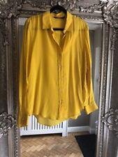 Femmes Zara moutardes Mulberry chemise en soie Taille XL