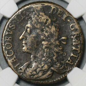 1690 NGC F Det James II Ireland 1/2 Crown October Gun Money Coin (21020205C)