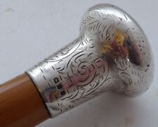 London 1920 canne Hallmarked Solid Silver Pommeau bambou arbre