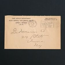1932 San Diego Calif Official Business Post Office Department Slogan Cancel