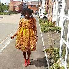 New African fabric Ankara fitted dress size UK 12 multicoloured
