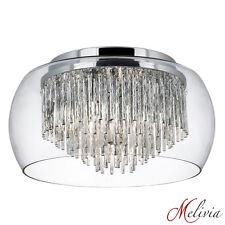 Deckenlampe Chrom Silber Glas Ø35cm Deckenleuchte Rund Design Deckenlicht Lampe