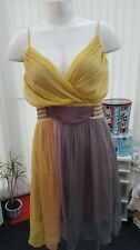"Ladies BNWT ""TSEGA"" Yellow, Purple & Grey Summer Dress (Size M 10-12)"