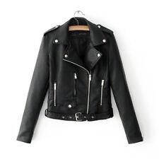 Women Ladies Lapel Leather Jacket Coat Zip Biker Short Punk Cropped Tops Outwear