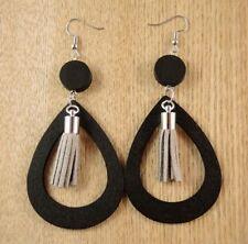 Black Tear Drop Lightweight Wood Dangle Earrings with Light Grey Tassels #1434