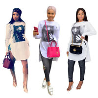 Women Long Sleeves Cool Girl Print Casual Club Party Tops White Slit Shirt