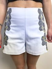 FAB KOOKAI WHITE EMBROIDERED WITH BLACK GOLD HIGH WAISTED SHORTS SZ 36 (8)