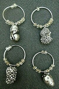 4 Wine Glass Stem Rings Charms Markers Party Favors Strawberry Grapes Berries